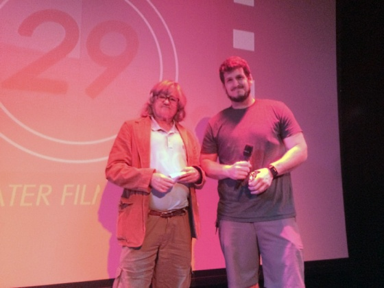 Chuck Stone (right) of CSM accepts the Michelle Ann Farrell Award for Innovation from long-time sponsor Craig Herron of Herron Designs. Chuck also took home third place for the 29 Days Later Film Project.
